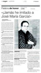 Entrevista en El periódico de Aragón al imitador de Aragón Radio Miguel Ángel Lordán, 2007